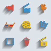 Set of 9 cinema web and mobile icons. Vector. — Stock Vector
