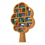 3d Tree of knowledge. Bookshelf on white. — Stock Photo