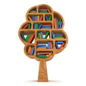 3d kunskapens träd. bokhylla på vit. — Stockfoto