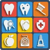 Set of 9 dental web and mobile icons. Vector. — Stock Vector