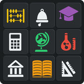 Set of 9 school web and mobile icons. Vector. — Stockvector