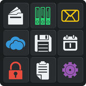 Set of 9 files web and mobile icons. Vector. — Vecteur