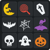Set of 9 halloween web and mobile icons. Vector. — Stock Vector