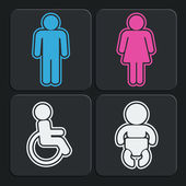 Set of 4 restroom icons. Vector. — Stockvector