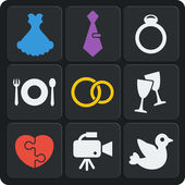 Set of 9 wedding web and mobile icons. Vector. — Stock Vector