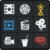 Set of 9 cinema web and mobile icons. Vector. — Stockvector
