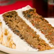 Walnut carrot cake on a plate — Stock Photo