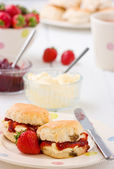 Home-baked scones strawberry jam, clotted cream strawberries, and tea. — Stock Photo