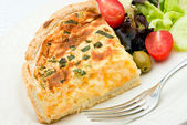 Quiche with salad — Stock Photo