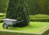 Gardening Tools In A Tudor Style Knot Garden. — Stock Photo