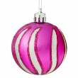 Purple Christmas Tree Ball Hanging Over White Background. — Stock Photo