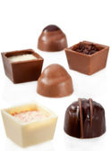 Chocolate Candy Assortment on white background — Stock Photo