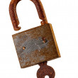 Old rusty padlock and key over white background.. — Stock Photo