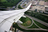 The scenery outside the aircraft cabin — Stock Photo
