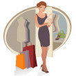 Beautiful woman with shopping bags - Stock Vector