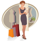 Beautiful woman with shopping bags — Stock Vector