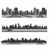Vector illustration.Highway silhouette .City skyline — Stock Vector