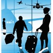 Stock Vector: Vector of airline passengers