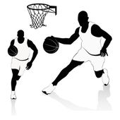 Silhouettes of Basketball Players Vector — Stock Vector