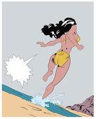 Sunny beach pop art illustration — Stock Vector