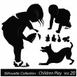 Vector Illustration: Children silhouettes - Stock Vector