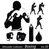 Vector Illustration: Box and boxing — Stock Vector