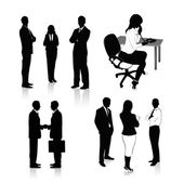 Vector Illustration: Collection of business silhouettes — Stock Vector