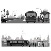 Vector Illustration: Bus station.Public transportation — Stok Vektör