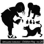Vector Illustration: Children silhouettes — Stock Vector