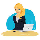 Vector illustration of elegant young business woman — Stock Vector