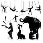 Vector silhouettes.Circus show — Stock Vector
