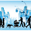 Vector illustration of various walking through a city - Stock Vector