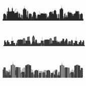 Vector illustration.city skyline.construction site et grues — Vecteur