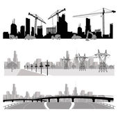 Construction,energy distribution and highway silhouette — Vector de stock