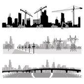 Construção, distribuição de energia e silhueta de rodovia — Vetorial Stock