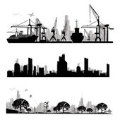 Illustration de silhouette.vector ville skyline — Vecteur