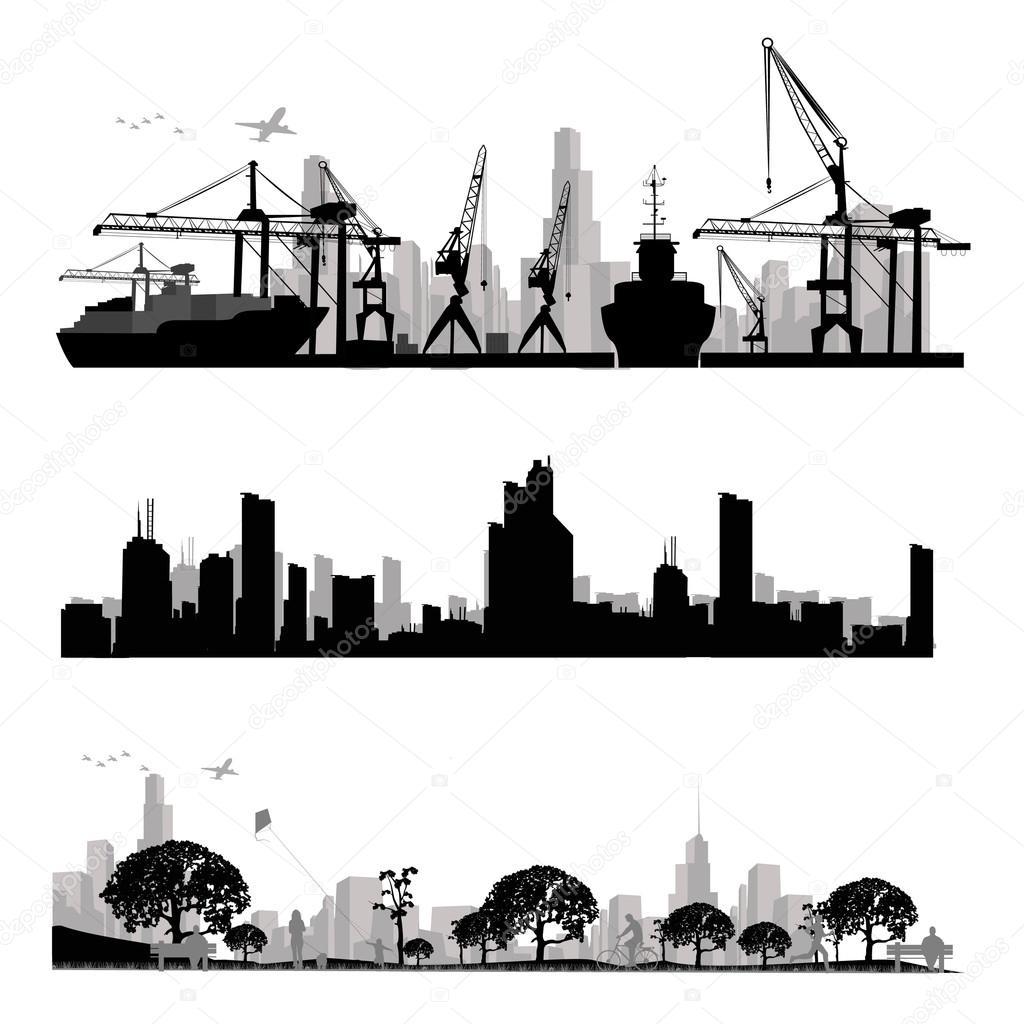 城市的天际线轮廓 — 矢量图片作者