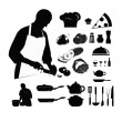 Cooking silhouettes:chef preparing a meal - Stock Vector