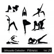 Vector illustration of fitness silhouettes - Stock Vector
