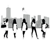 Elegant women.Victor silhouettes illustration — Stock Vector
