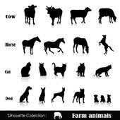 Vector set illustration: farm animals isolated on white — Stock Vector