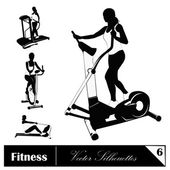 A vector collection of fitness silhouettes — Stock Vector