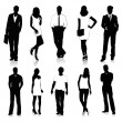 Collection of people silhouettes — Stock Vector