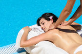 Massage relax at poolside — Stock Photo