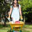 Gardener with Wheelbarrow — Foto Stock