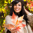 Autumn leafand woman — Stock Photo