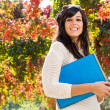 Hispanic teen autumn student — Stock Photo