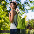Stock Photo: College student with backpack