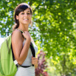 Cheerful beautiful student outside — Stock Photo