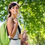 Cheerful beautiful student outside — Stock Photo #13512980